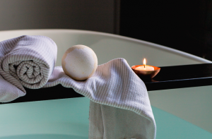 Relaxing bath setup with candle